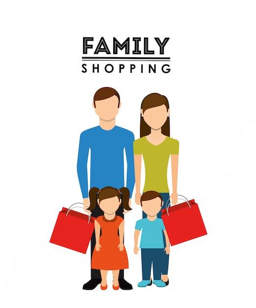 Diseño de compras familiares vector gratuito