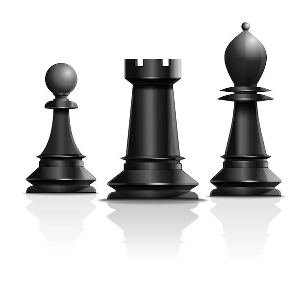 Diseño de concepto de ajedrez. peón, torre y alfil. piezas de ajedrez aisladas sobre fondo blanco. ilustración Vector Premium
