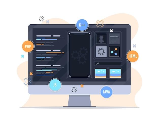 Diseño de concepto de desarrollo de aplicaciones vector gratuito