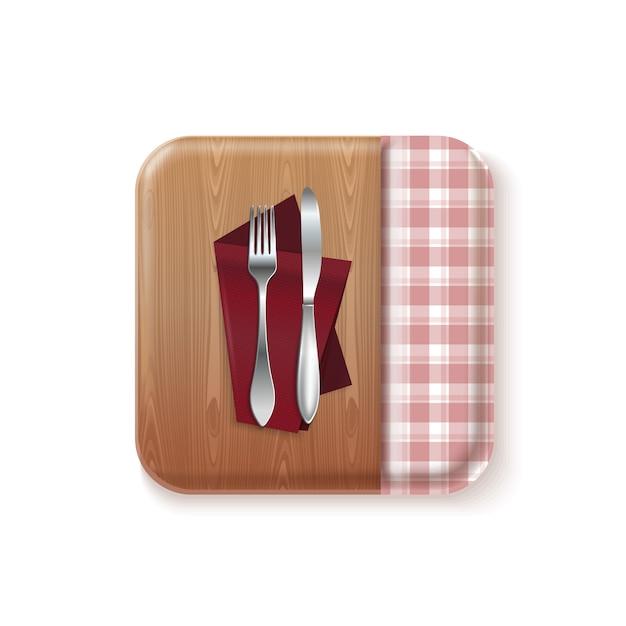 Diseño de concepto de logotipo de cocina de bon appetit. cuchillo y tenedor sobre una mesa de madera con mantel. ilustración realista Vector Premium