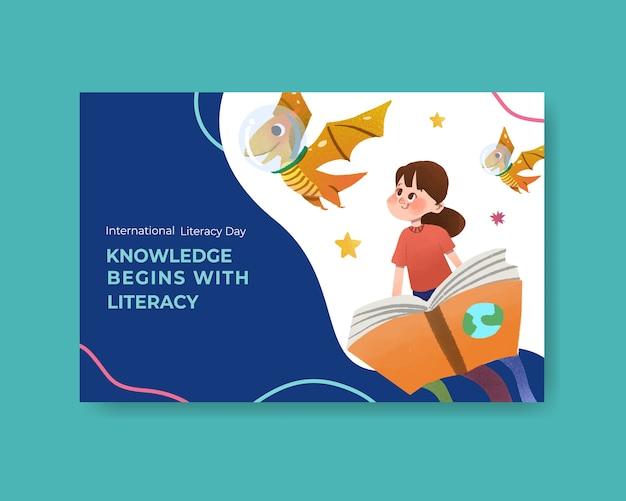 Diseño conceptual del día internacional de la alfabetización vector gratuito