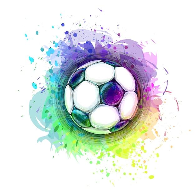 Diseño conceptual con estilo abstracto de un balón de fútbol digital de salpicaduras de acuarelas. ilustración de vector de pinturas Vector Premium