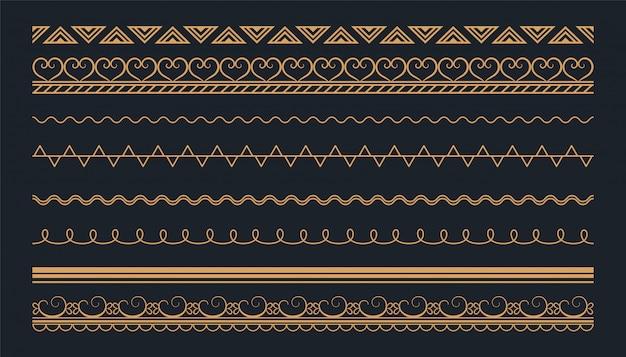 Diseño de conjunto de fronteras sin costuras étnicas de estilo boho vector gratuito