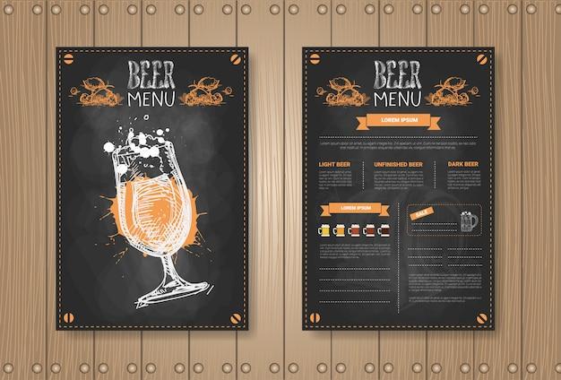 Diseño de conjunto de menú de cerveza para restaurante café pub tiza Vector Premium