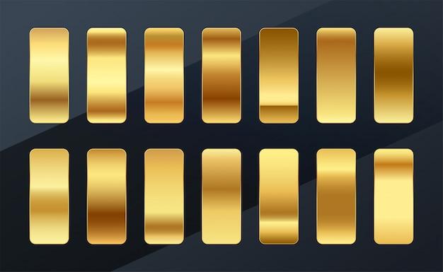 Diseño de conjunto de paleta de muestras de gradientes dorados premium vector gratuito