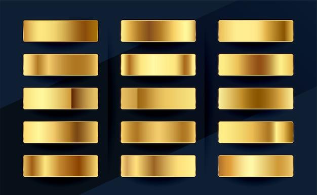 Diseño de conjunto de paleta de muestras de gradientes de oro real premium vector gratuito