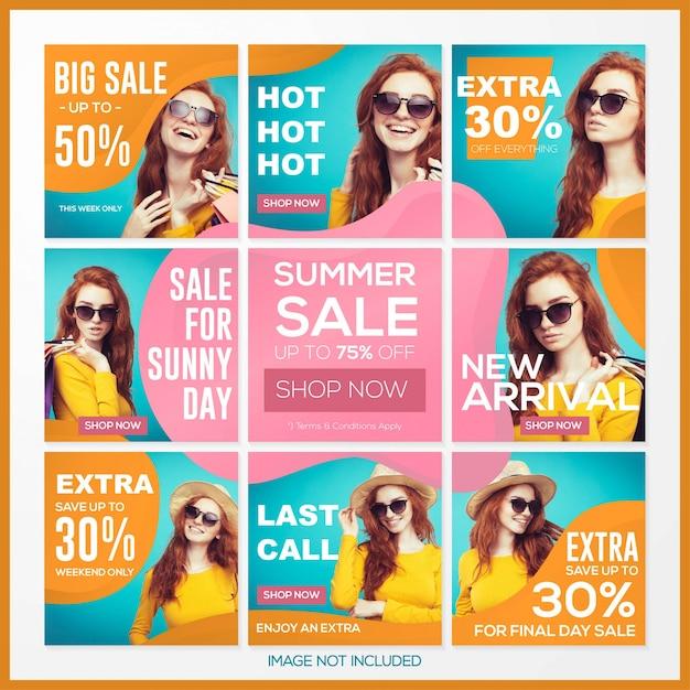 Diseño de contenidos en redes sociales con tema de venta de verano. Vector Premium