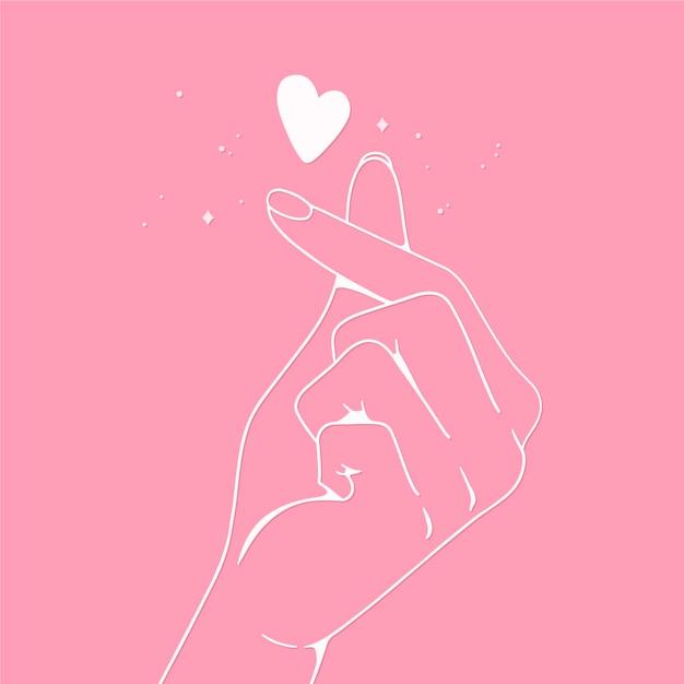 Diseño de corazón de dedo dibujado a mano Vector Premium