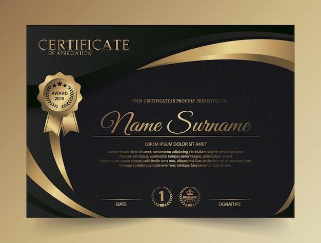Diseño creativo de certificado de diploma oscuro con símbolo de premio Vector Premium