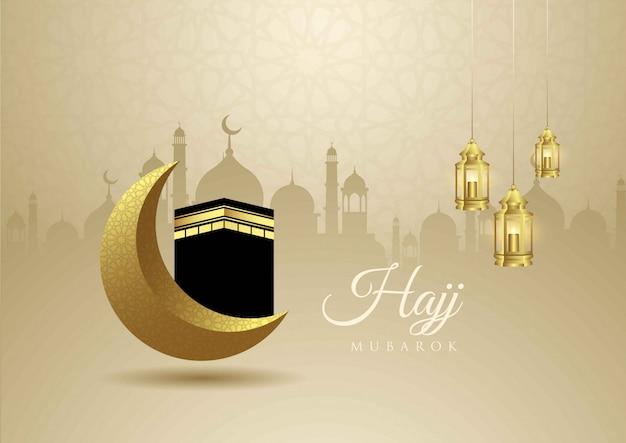 Diseño creativo de eid mubarak con decoración de mezquita, luna y linterna. Vector Premium