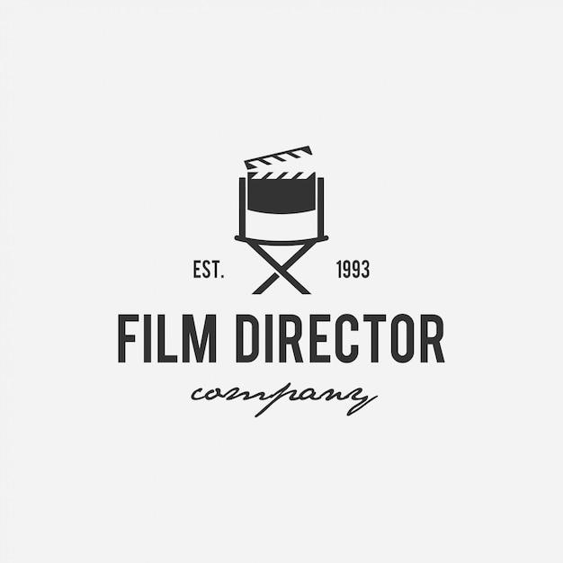 Diseño creativo de logotipo de cine, cine, director, compañía de televisión Vector Premium