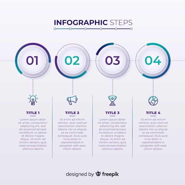 Diseño creativo de pasos infográficos vector gratuito
