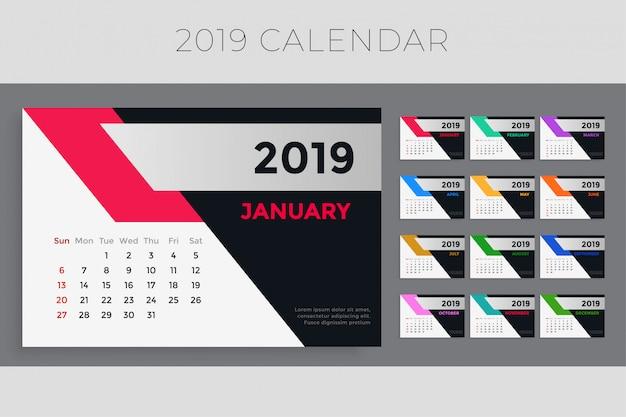Diseño creativo de la plantilla del calendario 2019 vector gratuito
