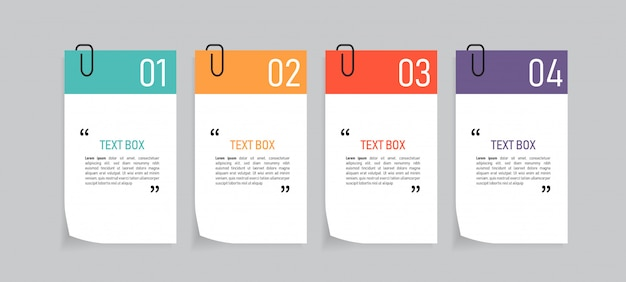 Diseño de cuadro de texto con papeles de nota. Vector Premium