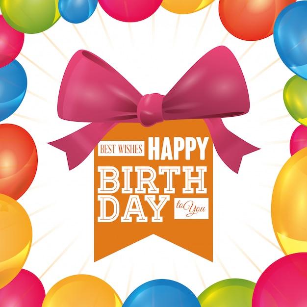 Diseño de cumpleaños Vector Premium