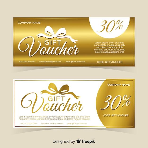 Diseño de cupón de regalo dorado vector gratuito