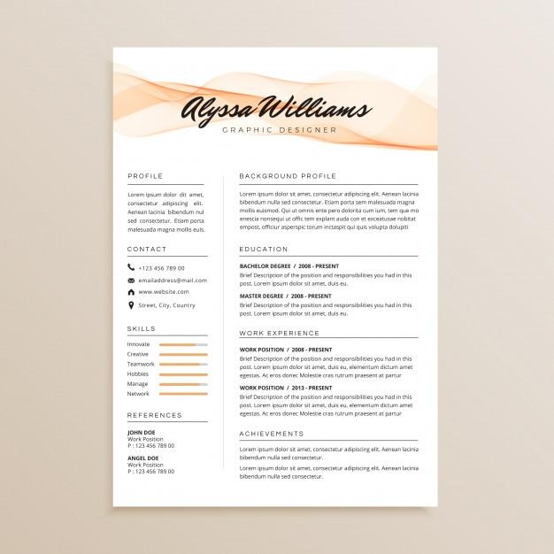 Diseno De Curriculum Vitae Simple Elegante Descargar Vectores Premium