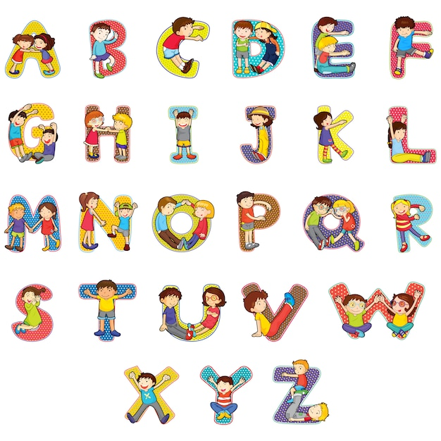 Dise o de abecedario a color descargar vectores premium - Lettres alphabet originales ...