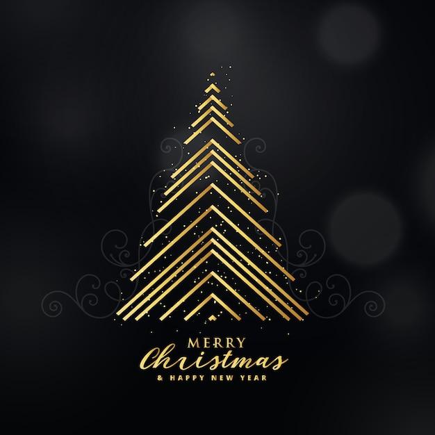 Dise o de rbol de navidad de oro premium con l neas de - Arbol navidad diseno ...