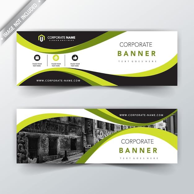 diseño de banner horizontal verde corporativo Vector Gratis