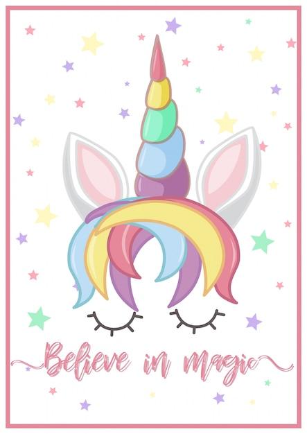 Diseño de cartel con cabeza de unicornio | Descargar Vectores Premium