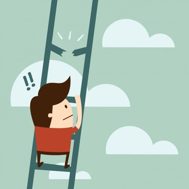 Dise o de chico usando una escalera descargar vectores - Diseno de una escalera ...