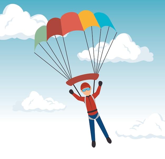 Diseño de deporte extremo paracaídas hombre | Descargar Vectores Premium