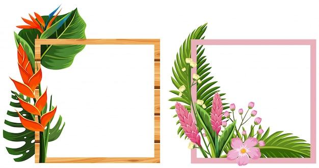 Marcos Coloridos Para Hojas: Diseño De Dos Marcos Con Flores Y Hojas.