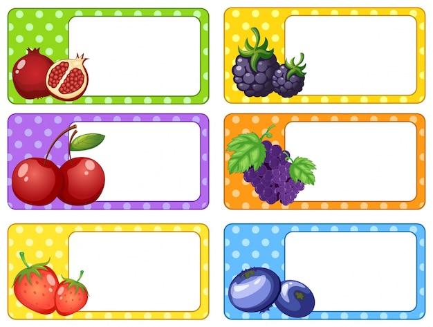 Dise o de etiquetas con frutas y bayas ilustraci n for Diseno de etiquetas