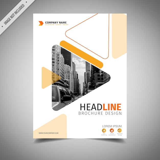 Diseño de folleto de negocios naranja y blanco Vector Gratis