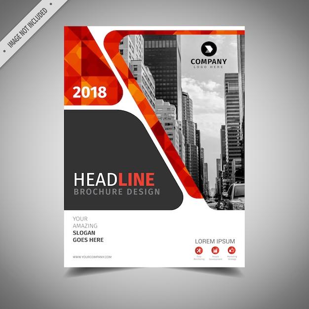 Diseño de folleto de negocios naranja y rojo Vector Gratis