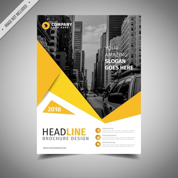 Diseño de folleto de negocios negro y amarillo Vector Gratis