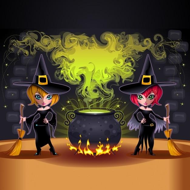 Diseño de fondo de brujas | Descargar Vectores gratis