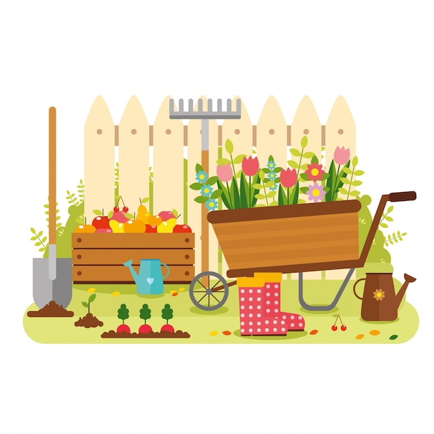 Dise o de fondo de jard n descargar vectores premium for Diseno virtual de jardines gratis