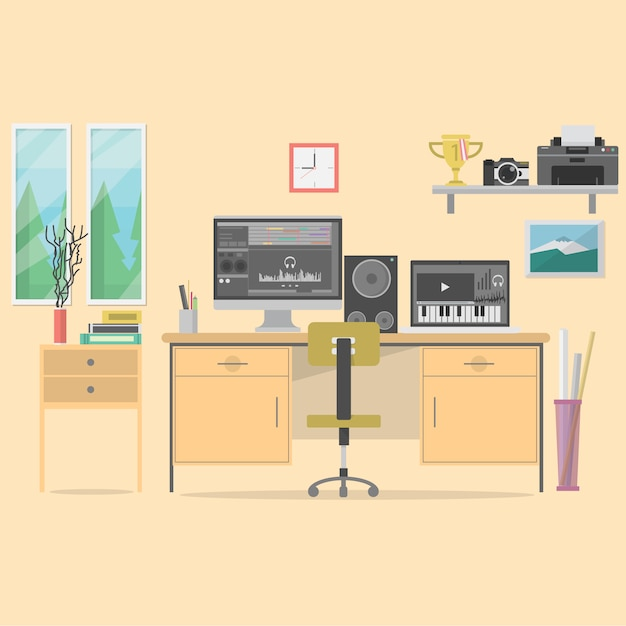 Dise o de fondo de oficina descargar vectores gratis for Programa de diseno de oficinas gratis