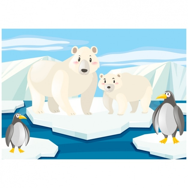Dise o de fondo del polo norte descargar vectores gratis for Disegno pinguino colorato