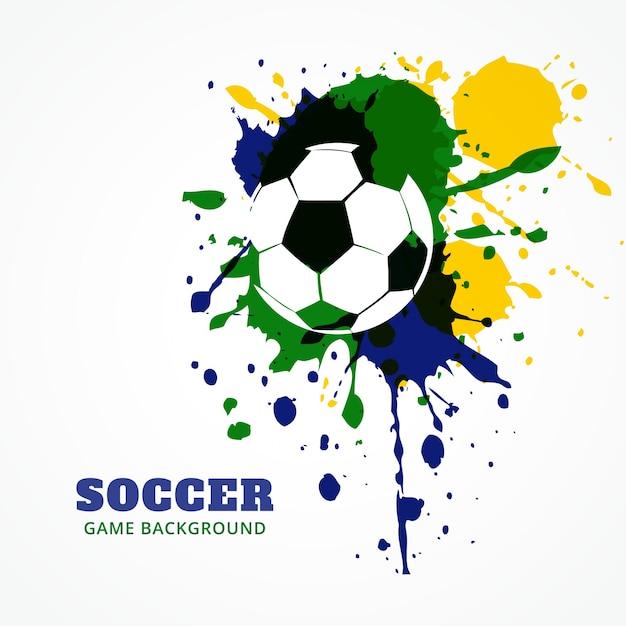 Diseño de fútbol en colores de brasil | Descargar Vectores gratis