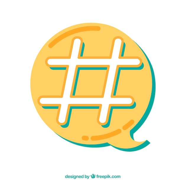 Diseño de hashtag con burbuja de texto amarilla | Descargar Vectores ...