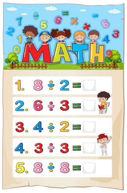 Diseño de hoja de cálculo de matemáticas para la división ...