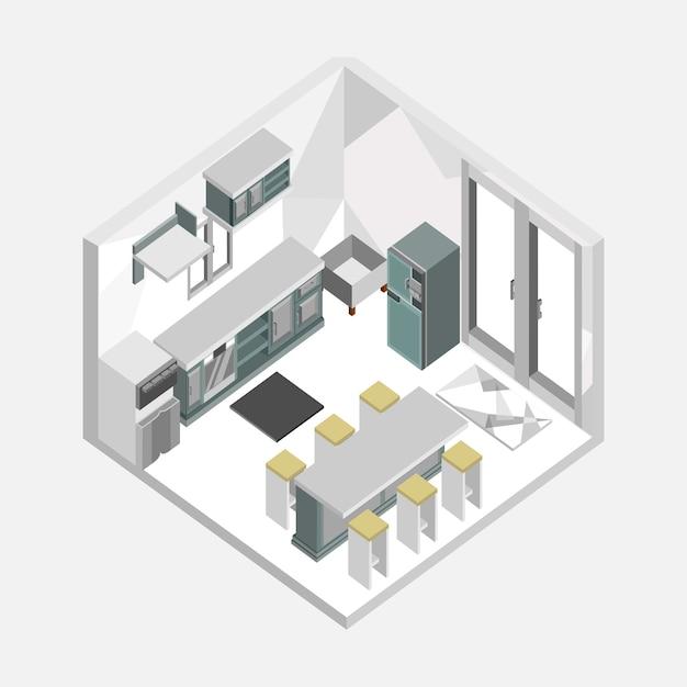 Diseño de ilustración interior casa isométrica de color gris cocina ...