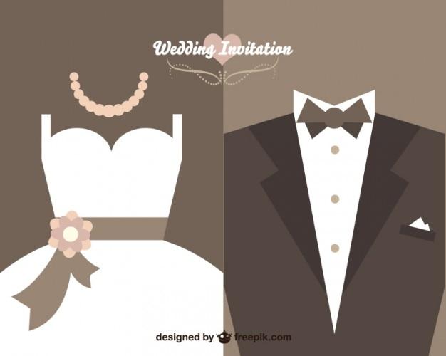 diseo de invitacin de boda vintage vector gratis