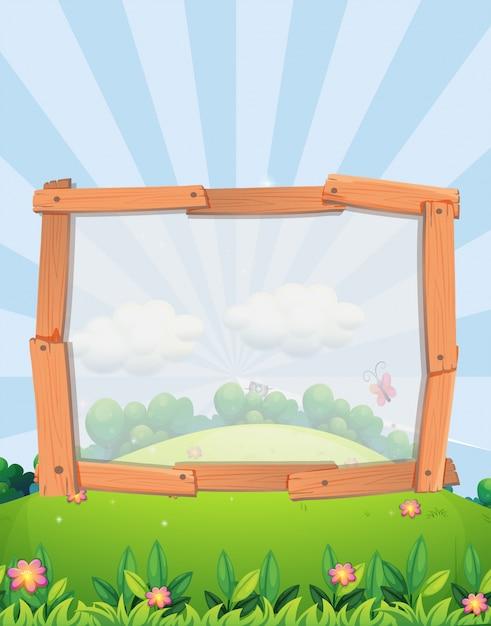 Diseño de marco con fondo de parque | Descargar Vectores Premium