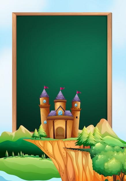 Diseño de marco con torres de castillo en el fondo | Descargar ...