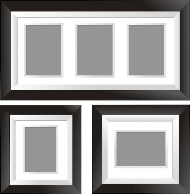 Diseño de marco negro en tres estilos | Descargar Vectores Premium