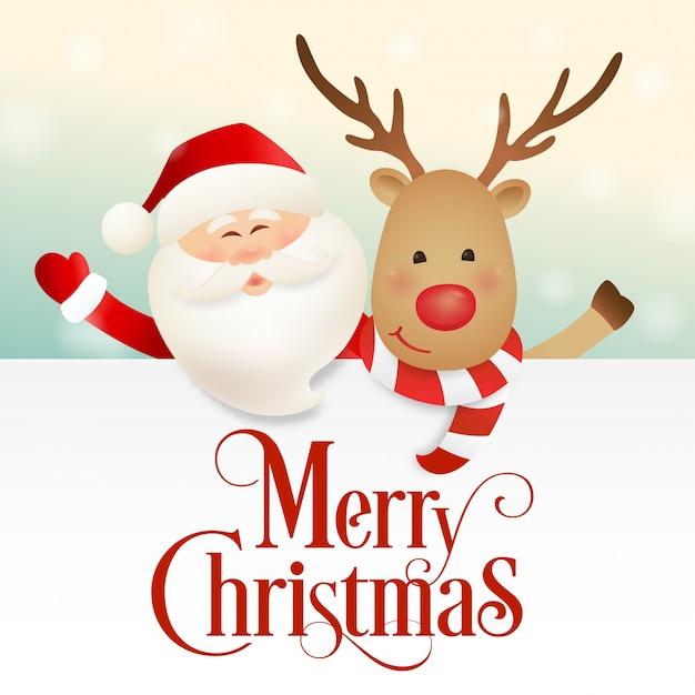 Dise o de navidad con santa claus y personaje de dibujos for Dibujos de renos en navidad