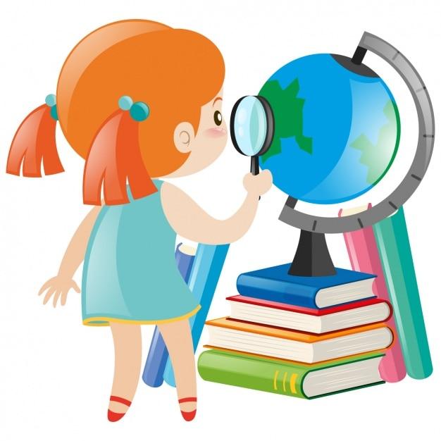 Diseño de niña estudiando | Descargar Vectores gratis
