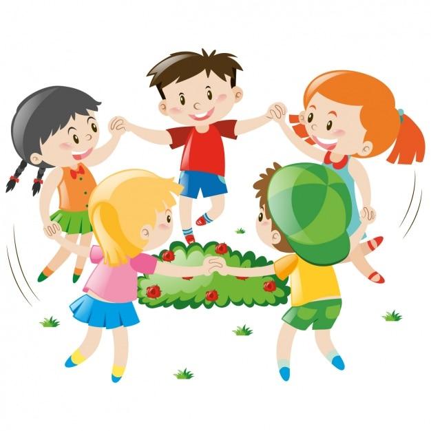 Dise o de ni os jugando descargar vectores gratis for Aprendiendo y jugando jardin infantil