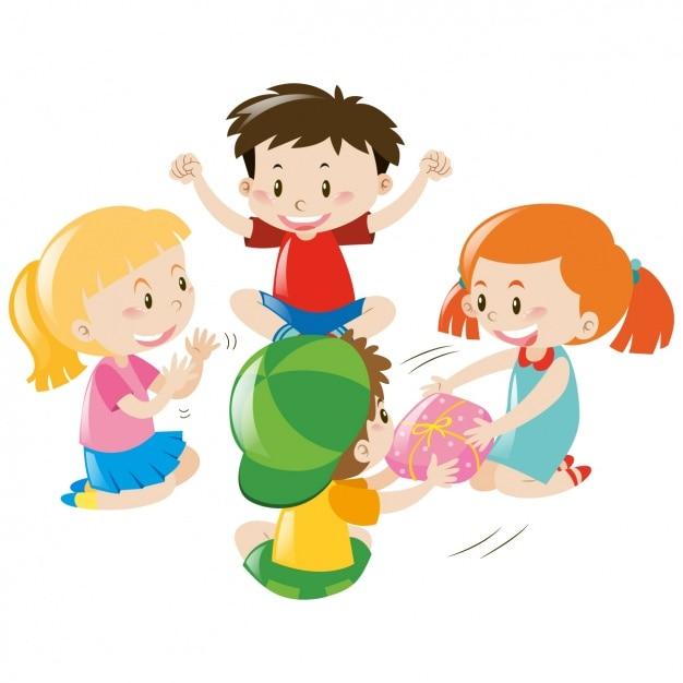 Dise o de ni os jugando descargar vectores gratis - Dibujos infantiles de ninos jugando ...