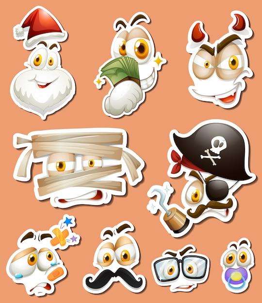 Diseño de pegatina con diferentes personajes Vector Gratis