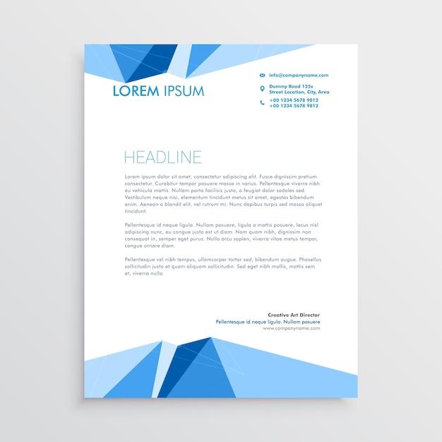Diseño de plantilla de papel con membrete geométrico azul ...